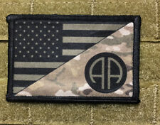 Multicam 82nd Airborne USA FLAG Morale Patch Tactical Military Hook Badge