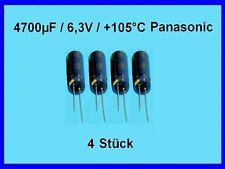Elko -Kondens. Panasonic 4700µF (4700uF) / 6,3V / +105°C / RM: 5mm / 4 Stück Neu