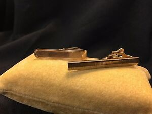 Lot of 2 Foster B.A.B Gold Filled Men's Tie Bar Clip