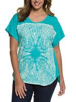Ulla Popken ladies t-shirt top plus size 24/26 turquoise blue print cotton