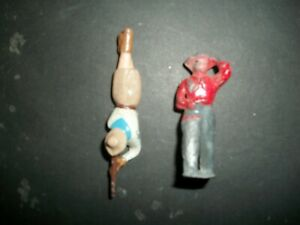 BRITAINS? 54MM HOLLOW CAST COWGIRL AND COWBOY