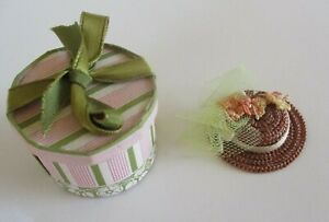 Vintage Miniature Dollhouse Artisan Silk Floral Straw Hat & Hat Box...Spring