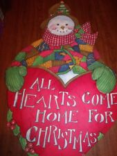 "Handmade Snowman and Heart Door Padded Completed Door Hanging 25"" x 39"""