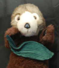 "Sea Otter Brown White Green Leaf 2001 K & M International Plush 12"" Toy 2001"