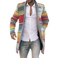 Men Striped Winter Trench Coat Casual Cardigan Long Jacket Warm Outwear Overcoat