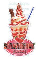 Strawberry Sundae Whippy Ice Cream Sticker - 18cm high die cut vinyl decal