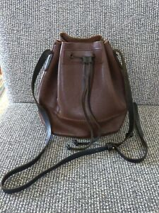 J.Crew The Carry All Drawstring Tote Shoulder Bag Leather Brown & Black