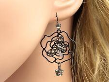 Beauty gray crystal rhodium plate butterfly rose dangling earrings jewlery E62