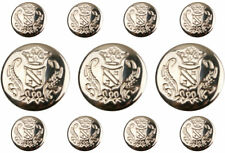11 SILVER Shank Metal Military Buttons Set for Suit Jackets, Sport Coat, Blazer