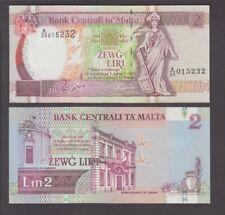 Malta banknote P. 45d 2 Liri  sig Bonello, Pfx A/20  EF   We Combine