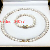 """AAAA 8-9mm round Akoya white pearl necklace18"""" + bracelet 7.5-8"""" 14k clasp gold"""