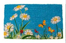 "DOOR MATS - FLOWER GARDEN COIR DOORMAT - 18"" X 30"" - DAISY & BUTTERFLY DOOR MAT"