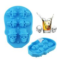 6 Holes Silicone 3D Skull Head Shape Ice Cube Trays Mold Halloween Theme Party