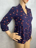 Anthropologie MAEVE Woodland Walk Fox Print Blouse Top Button Down Shirt Sz 2