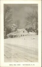Waterloo NH Mink Hill View TYDOL Gas Station in Snow Real Photo Postcard