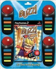 Buzz The Mega Quiz Bundle NEW Sony PlayStation 2 PS2 with 4 wired buzzers trivia