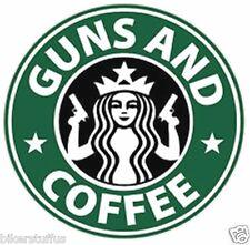 GUNS AND COFFEE STICKER LAPTOP STICKER TOOLBOX STICKER MUG STICKER WINDOW