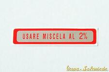 VESPA étiquette RÉSERVOIR DE USARE MISCELA AL 2% - Rouge / PETIT - V50 PK PX PV