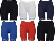 Womens Cycle Shorts Ladies Lace Trim Cycling Shorts Stretch Leggings Pants New
