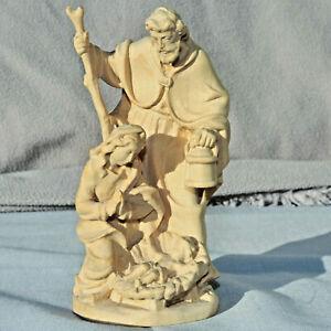 Heilige Familie Maria Josef Christkind Holz geschnitzt natur Krippe Weihnachten