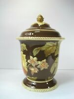 "Raymond Waites Savannah Large Floral Cookie Jar/ Vase With Lid 11.5"" Tall"