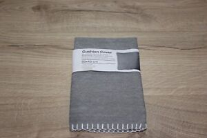 Cushion Covers 45 cms x 45 cms White Blanket Stitch Detail - Grey Colour - New
