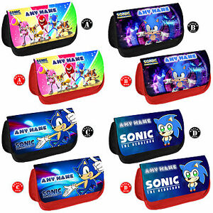 SONIC Hedgehog Personalised Pencil Case Kids School Any Name Make Up DS Bag Gift