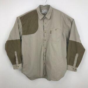 Columbia Sportswear Men Shooting Padded Patch Shirt Brown Pocket Long Sleeve XXL