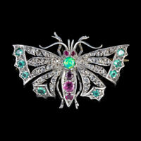 DIAMOND BUTTERFLY BROOCH EMERALD RUBY OPAL SILVER 18CT GOLD