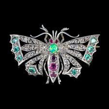DIAMOND BUTTERFLY BROOCH EMERALD RUBY OPAL SILVER 18CT GOLD