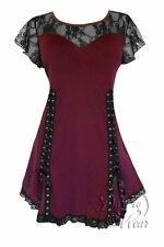 BURGUNDY Gothic Victorian ROXANNE Tie Back Top Dare to Wear Jr Plus Size 5X,  28