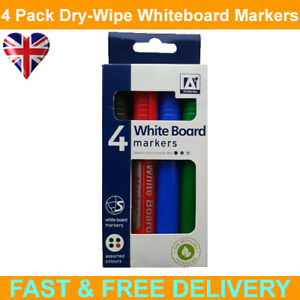 4 x White Board Dry Wipe Markers Pens Black, Blue, Red, Green Multipack