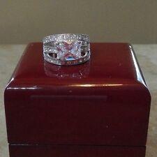 Vintage 4ct  White CZ 925 Sterling Silver Wedding Engagement Ring Set sz6