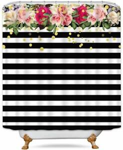 Nice! Black White Striped Floral Farmhouse Waterproof Fabric Shower Curtain