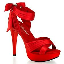"Fabulicious Ctail568 Women's Hot Ankle Strap Sandal 5""stiletto Heel 1"" Platform Red Satin/red 11"