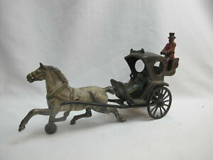 Antique KENTON Cast Iron Mechanical Horse CARRIAGE Toy