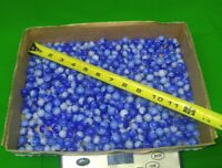 Huge Lot Of 500 + Blue Swirl Glass Toy Marbles  4+ lbs blue marble lot