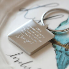 Square Dad Wedding Keyring With Grey Gift Box, Father Of The Bride Gift