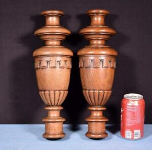 """*14"""" Pair of French Antique Solid Oak Posts/Pillars/Columns/Balusters"""