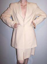 ALBERTO MAKALI Designer Skirt-Suit Sz 12 Ivory Fitted-Jacket Pencil-Skirt Lined