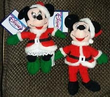 Disney Santa Mickey & Minnie Mouse bean bag plush set - new with tags