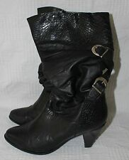 Women's LeatherCraft Black Boots by Premiere Collection 7 1/2B Anne #51750