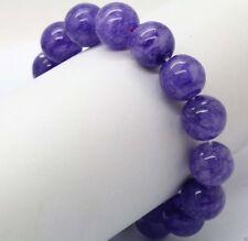 "Beads Stretchy Bangle Bracelet 7.5"" Natural 12mm Purple Amethyst Round Gems"