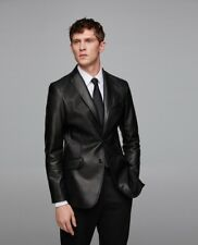Zara Men Faux Leather Jacket Blazer Black Size L NWT