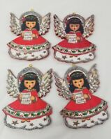 4 Vintage Christmas Ornament Card Image On Wooden Back Glitter Angel Gift tag