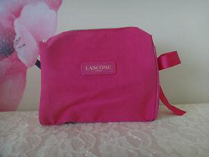 Lancome Fuchsia Cosmetics Bag W/ Matching Bow -COTTON material Approx: 7x6x2.5