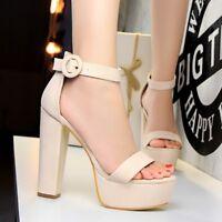 Womens Ladies Block Ankle Strap Platform High Heel Sandals Casual Peep Toe Shoes