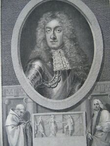 King James ll, Original 1789 Portrait Engraving Thornthwaite. History of England