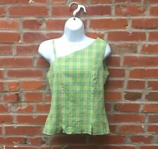 Vintage 90s Green Blue Plaid One Shoulder Top Womens (1544)