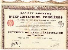 Société Anonyme D'Exploitations Fonciéres-Action 100 Francs-1927